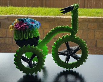 3D Origami Paper Bicycle (Green and Black)
