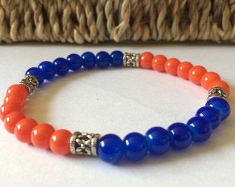 Florida gators orange & blue beaded bracelet
