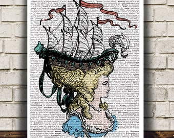 Ship art Nautical print Antique print Vintage poster RTA885