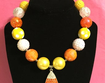 Candy corn halloween chunky necklace with pendant