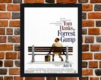 Framed Forrest Gump Tom Hanks Movie / Film Poster A3 Size Mounted In Black Or White Frame