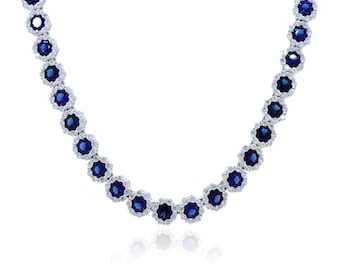 925 Sterling Silver Clear CZ Sapphire Necklace 23.68 CT.TW(S285)