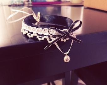 Kawaii Black and White Lace Ribbon Lolita Gothic Choker