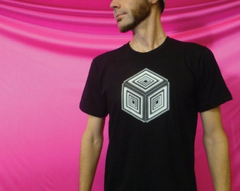 Escher Illusion Cube - 100% Ring Spun Cotton Shirt - Made in USA