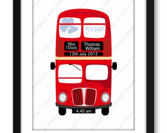 London bus,  baby stats, new baby, red bus, nursery print