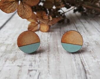 Geometric Wooden Lasercut Round Stud  Earrings Dipped Sage,Lime, Purple