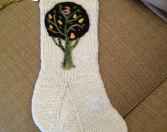 Handmade Knit and Needle Felted Stockings Corriedale Fleece  Christmas Stocking  Home Decor Handmade Christmas Decoration