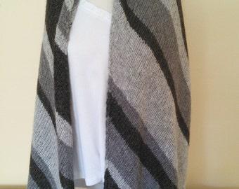 Hand Knit Gray Striped Alpaca-Bamboo Wrap