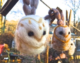 Wool Needle Felt Owl Ornaments