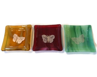 """Set of 3 Fused Glass 4.5"""" Sq. Dishes - Amber, Cranberry and Green Streaky Glass with Gold Mica Butterflies"""