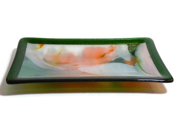 "Fused Glass 5.25"" x 9.75"" Rectangular Dish - Colorful green, white, orange and yellow glass with a sparkling green border."