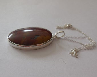 Sterling Silver, Sterling Silver Pendant, Agate Pendant, Sterling Silver Necklace, Large Gemstones,