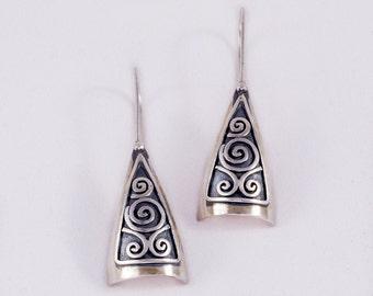 spiral stelring silver earrings,long spiral earrings,spiral silver earrings,long silver earring,spiral earrings