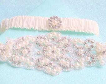 Wedding Garter Set with Jeweled Centering