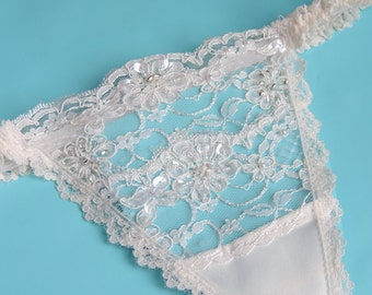 Beaded G-String,  Thong,  Beaded Wedding G-String,  Wedding Panty