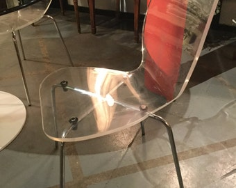 Mid century Set of Four Lucite and Chrome  Chairs (reduced from 1200)