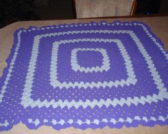 baby afhgan  purple and gray