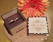 Personalized Rustic Wedding Ring bearer box, Engagement, Valentine, Birthday