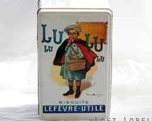 """Vintage French biscuits container-tin """"Lefévre-Utile """" featuring a print by Firmin Bouisset"""