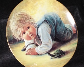Vintage Fine Porcelain Collectors Plate, Playful Memories; Jeremy by Sue Etem/Hackett American