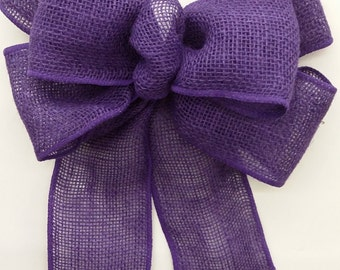 Purple Burlap Bow
