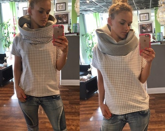 Turtle neck hooded shirt for woman, high collar shirt, modern top for summer, european style shirt, trendy short sleeve shirt