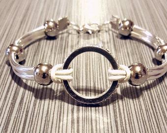 Silver Tube Statement bracelet