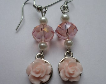 Soft Pink Rose Pearl Drop Earrings