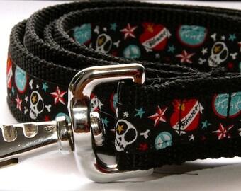 Dog Lead  'Skull & Crossbone' Metal Buckle  Lead