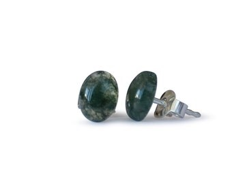 Agate earrings, MOSS agate, of course, flat oval 6x8mm, 925 Silver