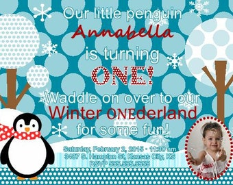 Winter First Birthday Invitation