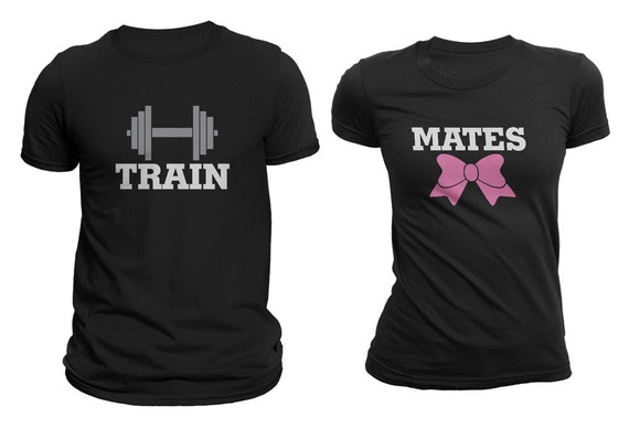 Train mates workout matching couple t shirts black set of 2 for Hair salon t shirt designs