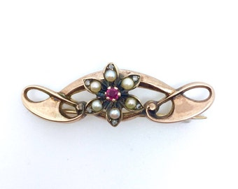 Art Nouveau 9ct Rose Gold, Ruby, Seed Pearl and Diamond Brooch