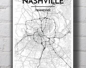 Black & White Nashville City Map Print