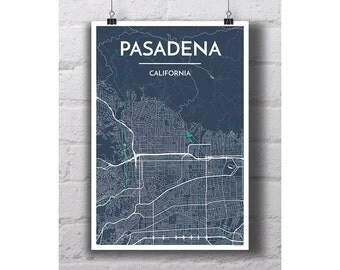 Pasadena, California - City Map Print