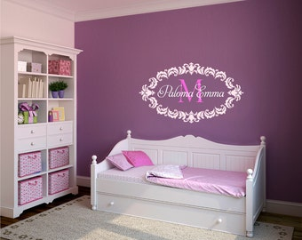 Damask Wall Decal,  Name Wall Decal, Baby Nursery Decals, Nursery Name Decal, Custom Name Decal, Monogram Decals, Girl Name Decals