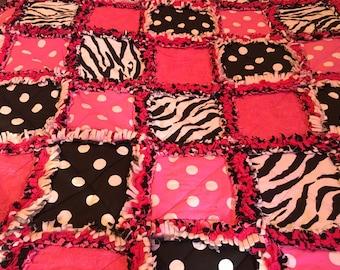 Rag Square Quilt, Square Quilt, Flannel Quilt