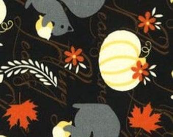 Fall Squirrels Cotton Fabric Fat Quarter 18 X 22
