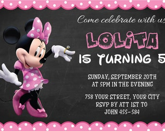 Minnie Mouse Birthday, Minnie Mouse Invitation, Minnie Mouse Party, Minnie Mouse Birthday Chalkboard Poster, Minnie Mouse Invitation | No 18