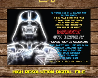 Star Wars Invitation - Star Wars Party Invitation - Star Wars Birthday Party Invite - Star Wars Party Printable - FREE card THANK YOU | #57