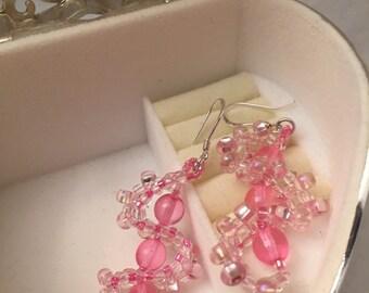 Pink double helix earrings