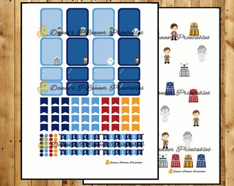 Cute Doctor Who Printable Planner Stickers