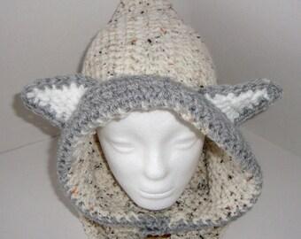 Crochet hood cowl, hoodie, snood, neck warmer with ears, handmade, made to order