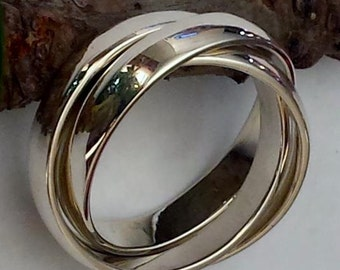 Sterling Silver Russian Wedding Band, Sterling Silver Rolling Ring