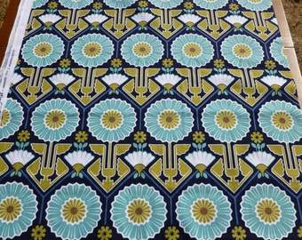 Sunflower Modern Meadow by Joel Dewberry for FreeSpirit Fabrics Teal Stylized Flowers on Navy with Green & White 100% Cotton - Half Yard