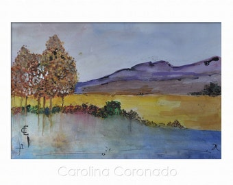 AUTUMN LAKE, Original Watercolor Painting, Countryside, Handmade, Original Art by Carolina Coronado
