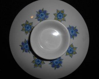 Vintage Turi Design LOTTE **Lid** for 1 quart casserole ~ Hand Painted Blue and White Silkscreen Scandinavian Folk Art ~ Figgjo Flint Norway