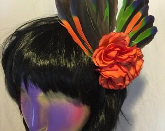 Amazon feather flower fascinator