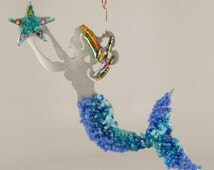 Mermaid, Fused Glass on Brushed Aluminum