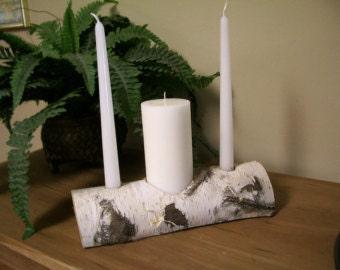 Wedding Unity Candle -Natural Birch Bark log  rustic